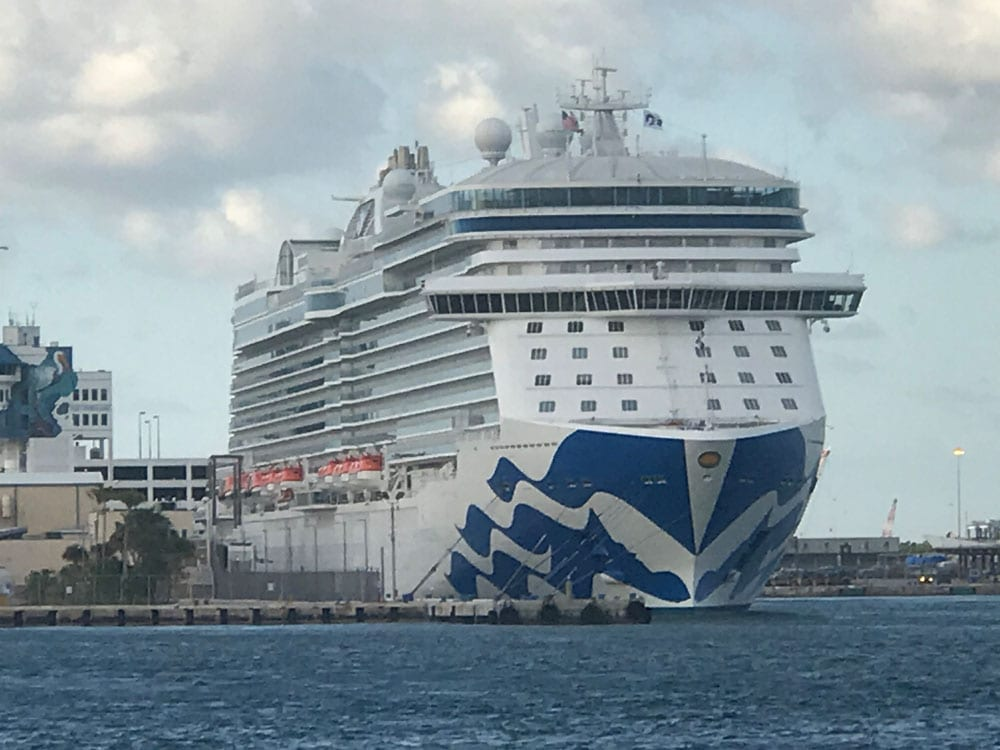 A big white ship with blue markings