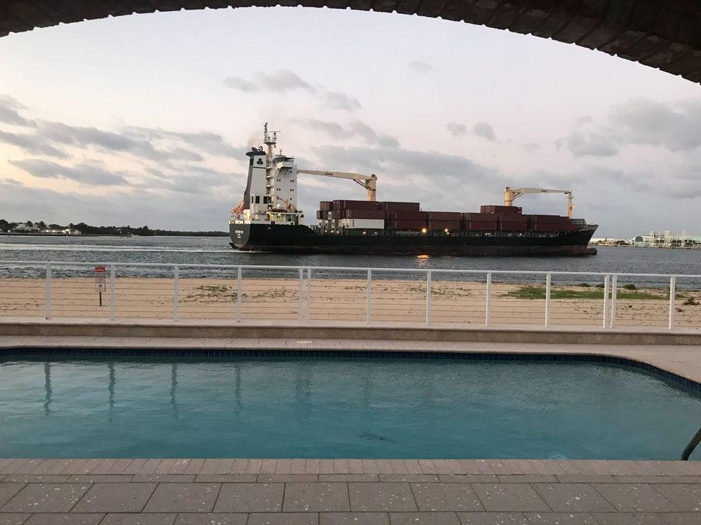 Cargo ship sailing the ocean