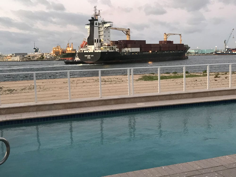Cargo ship sailing the ocean (different view)