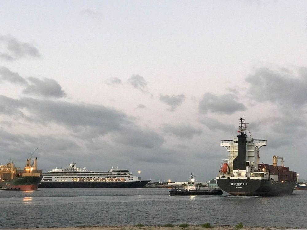Several ships sailing the ocean