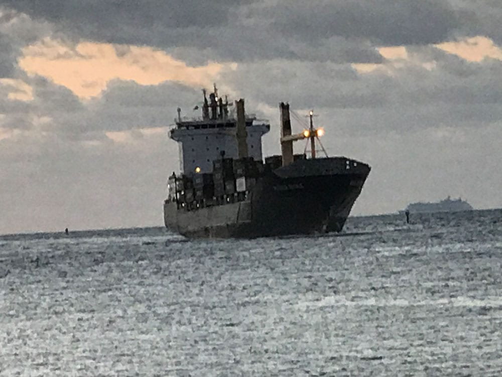 Cargo ship on the ocean (blurry)
