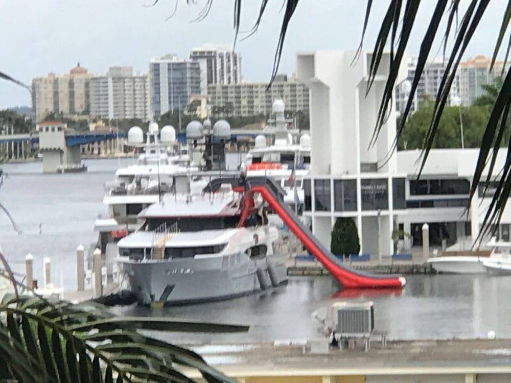 Sliding down a yacht
