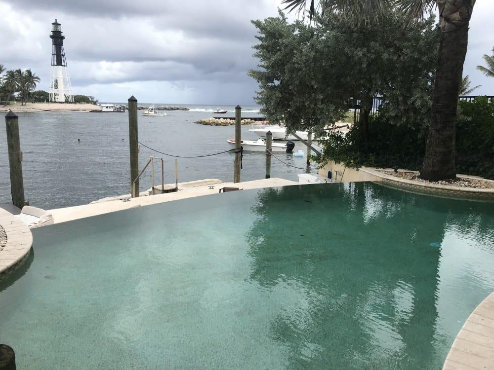 An infinity pool near the sea