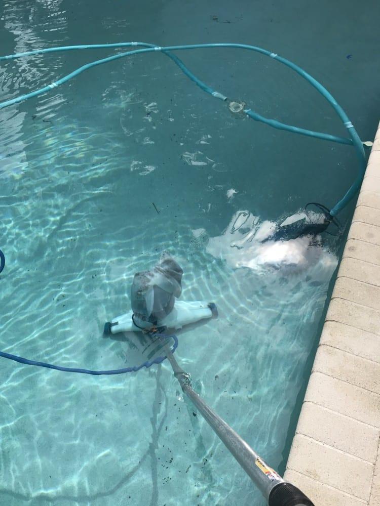 Pool vacuum cleaner in the pool