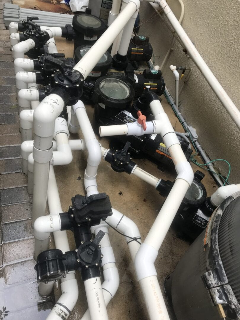 Swimming pool plumbing system pipes