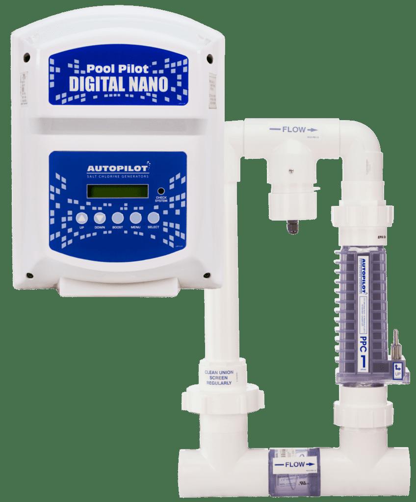 Pool Pilot ® digital nano salt chlorine generator and water heater pipes