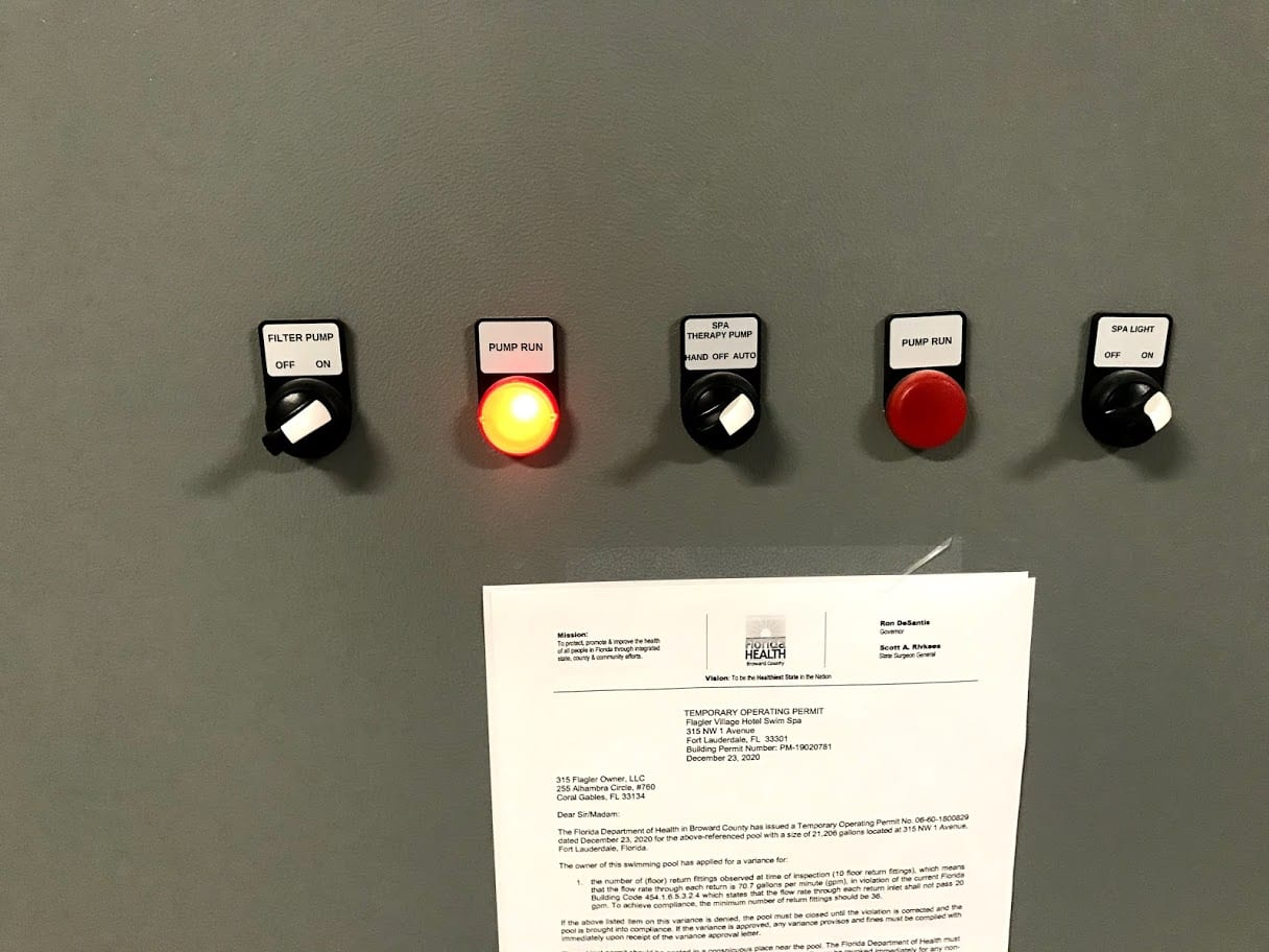 Four pool pump buttons and one light button