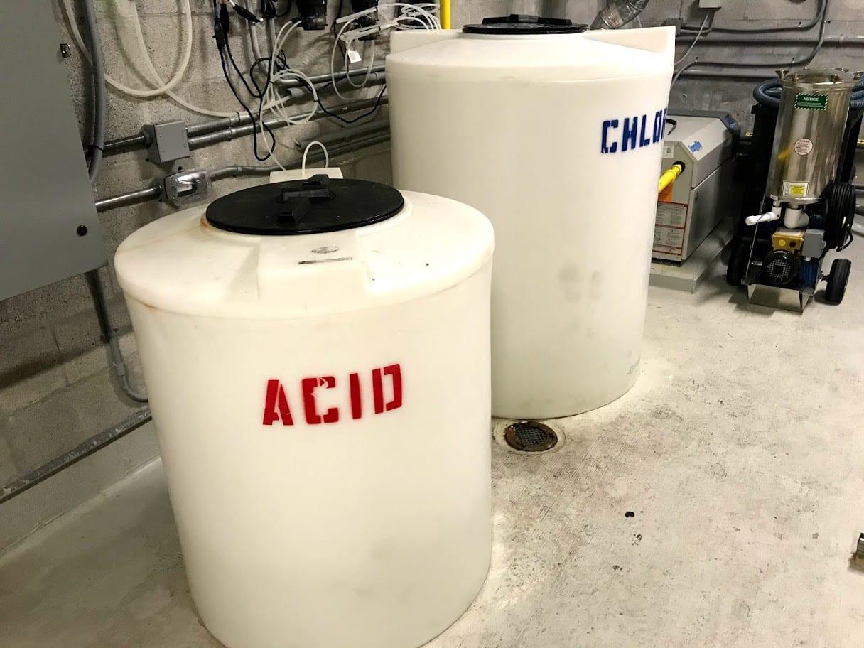 Acid and chlorine white tanks
