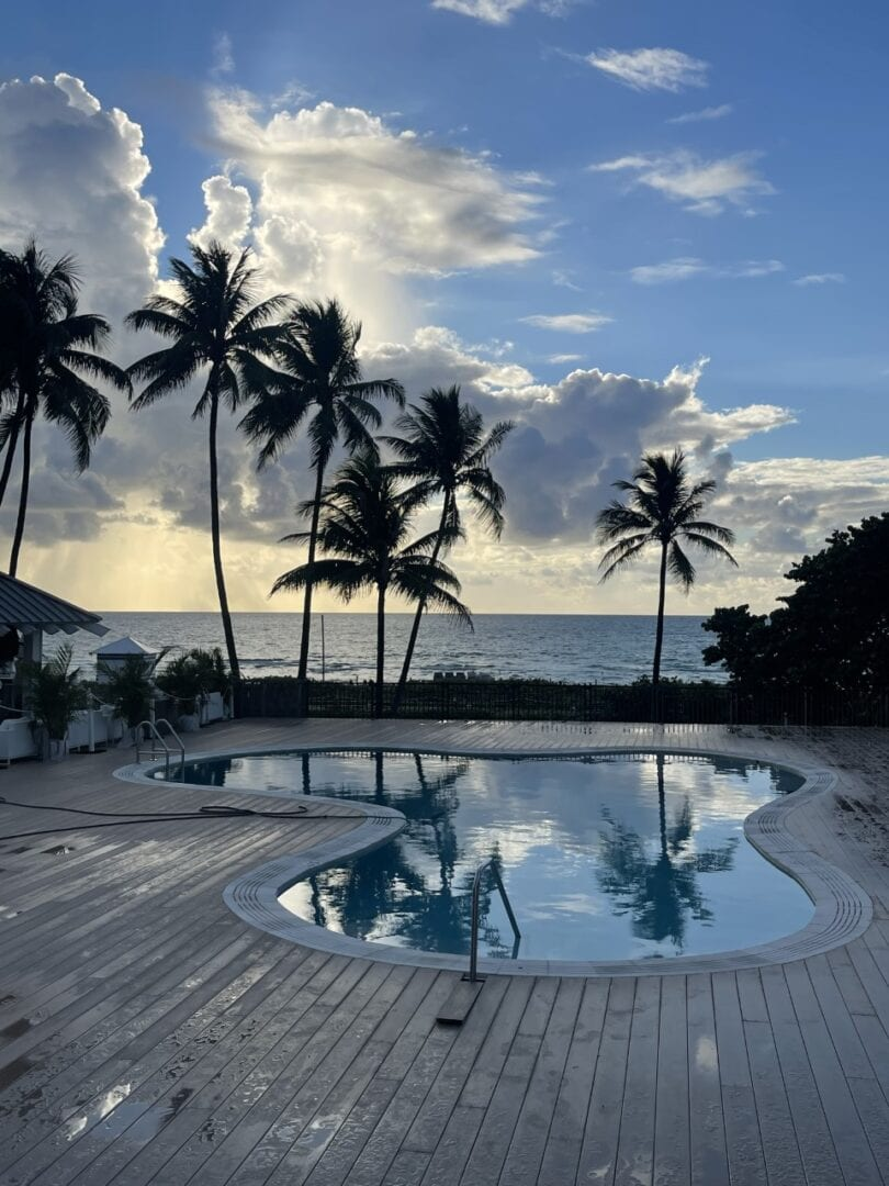 Small, curvy pool with floor tiles and palm trees and the beach in the background (at dusk)